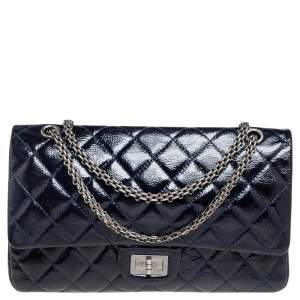 Chanel Navy Blue Quilted Patent Leather Reissue 2.55 Classic 227 Flap Bag