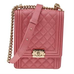 Chanel Pink Quilted Caviar Leather North/South Boy Bag