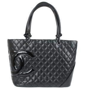 Chanel Black Leather Medium Cambon Tote Bag