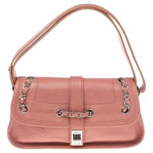 Chanel Pink Leather Mademoiselle Lock Flap Bag