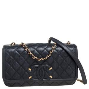 Chanel Black Caviar Leather Medium CC Filigree Flap Bag
