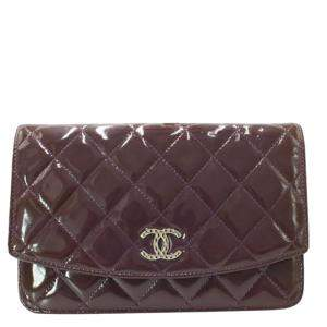 Chanel Purple Quilted Patent Leather Wallet on Chain Bag