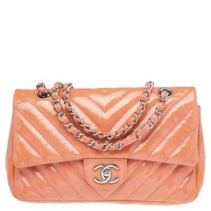 Chanel Pink Quilted Patent Leather Medium Classic Single Flap Bag