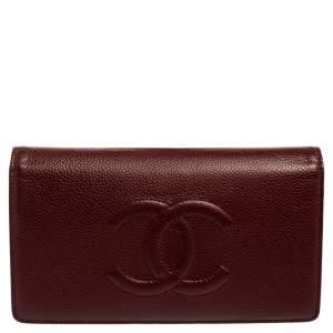 Chanel Burgundy Caviar Leather Timeless CC L Yen Wallet