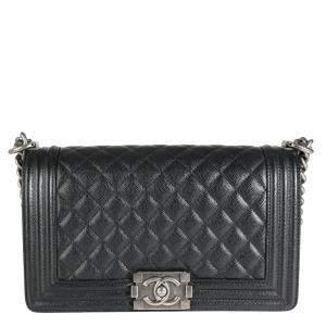 Chanel Black Caviar Quilted Leather Vintage Medium Boy Bag
