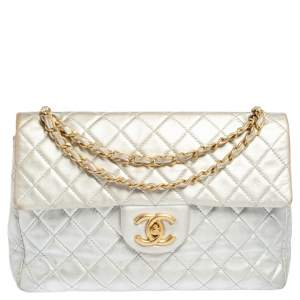 Chanel Silver Quilted Leather Maxi Single Flap Bag