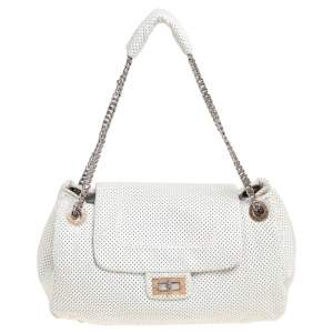 Chanel White Drill Perforated Leather Large Classic Flap Accordion Bag