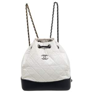 Chanel White/Black Quilted Aged Leather Gabrielle Backpack