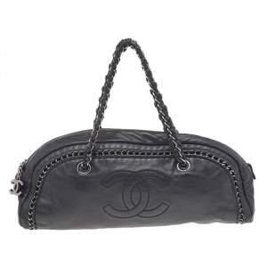 Chanel Black Leather Chain Trim Luxe Ligne Bowler Boston Bag