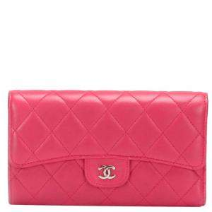 Chanel Pink Leather Classic Flap Long Wallet