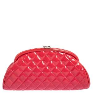 Chanel Pink Quilted Patent Leather Timeless Clutch