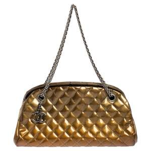 Chanel Gold Quilted Patent Leather Small Just Mademoiselle Bowler Bag