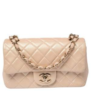 Chanel Beige Iridescent Quilted Lambskin Leather Mini Rectangle Classic Single Flap Bag