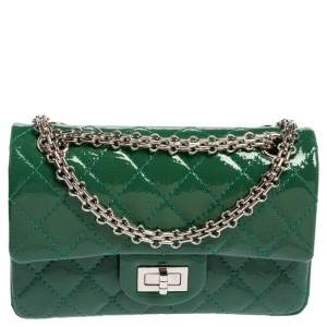 Chanel Green Quilted Patent Leather 244 Reissue 2.55 Double Flap Bag