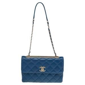 حقيبة شانيل  تريندي CC جلد مبطن أزرق بقلاب