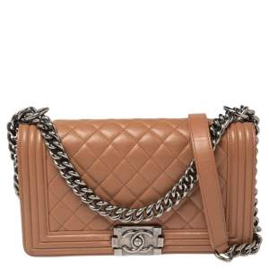 Chanel Beige Quilted Leather Medium Boy Flap Bag