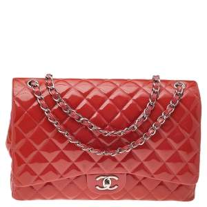 Chanel Orange Quilted Patent Leather Classic Jumbo Double Flap Bag