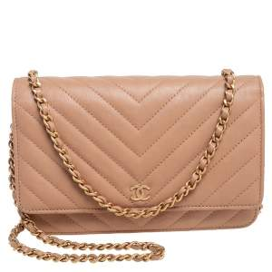 Chanel Beige Quilted Leather Wallet On Chain