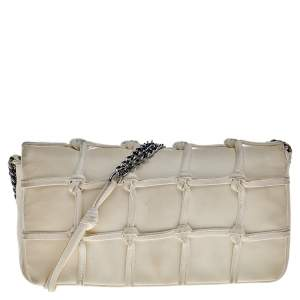 Chanel White Leather Knotted Flap CC Chain Shoulder Bag