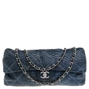 Chanel Navy Blue Python Leather Classic Double Flap Shoulder Bag