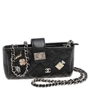حقيبة صغيرة حافظة جوال شانيل ريإيشو جلد مبطن أسود