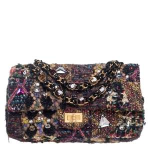 Chanel Multicolor Tweed Embellished Limited Edition Paris Byzance Reissue 2.55 Classic 225 Flap Bag