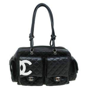 Chanel Black Quilted Leather Ligne Cambon Reporter Bag