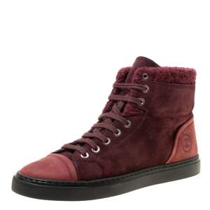 Chanel Burgundy Suede With Wool Trim CC High Top Sneakers Size 38