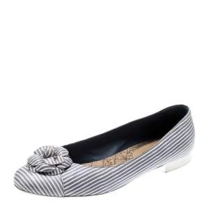 Chanel Lilac and White Striped Camellia Ballet Flats Size 39.5