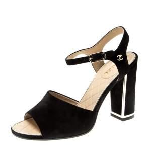 Chanel Black Suede Ankle Strap Sandals Size 37
