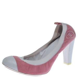 Chanel Pink Suede and White Leather Cap Toe Scrunch Pumps Size 39