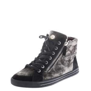 حذاء رياضي شانيل CC مرتفع من أعلى مشد سحاب مزدوج قطيفة و سويدي أخضر و أسود مقاس 37
