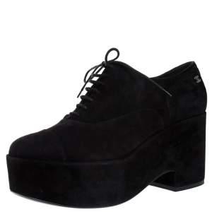 حذاء أوكسفورد شانيل CC رباط نعل سميك سويدي أسود مقاس 40.5