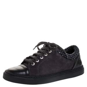 Chanel Black/Grey Suede, Leather And Tweed Trimmed Cap Toe CC Sneakers Size 37.5