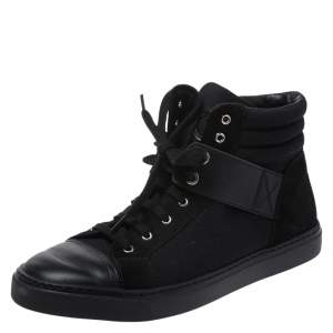 Chanel Black Suede Leather And  Canvas High Top Sneakers Size 38.5