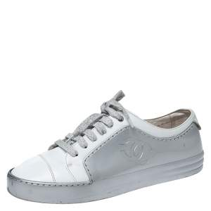 Chanel White/Silver Leather And Rubber CC Cap Toe Lace Up Sneaker Size 38