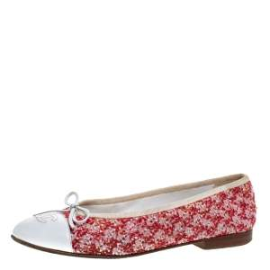 Chanel Red/White Tweed Fabric And Leather CC Cap Toe Bow Ballet Flats Size 38