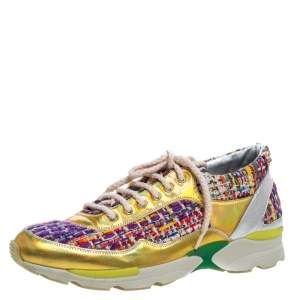 Chanel Multicolor Tweed and Patent Leather Lace Up Sneakers Size 38
