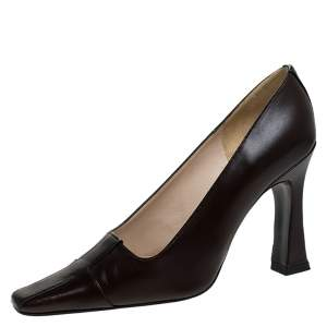 Chanel Black/Brown Striped Leather Pointed Toe Pumps Size 36.5