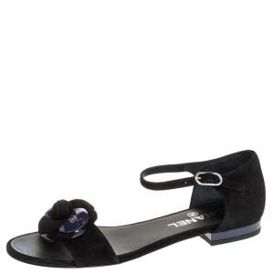 Chanel Black/Purple Suede And Patent CC Camellia Ankle Strap Flat Sandals Size 36.5