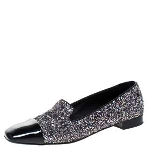 Chanel Black Patent Leather and Glitters Smoking Slippers Size 41.5