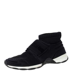 Chanel Black Fabric Stretch High Top Socks Sneakers Size 40.5