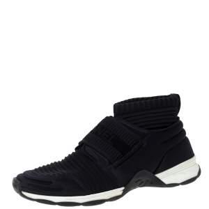 حذاء رياضي شانيل طراز جوارب مرتفع من أعلى قماش مرن أسود مقاس 40.5