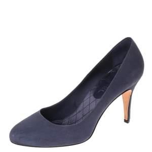 Chanel Blue Leather CC Heel Pumps Size 40