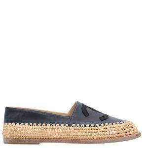 Chanel Black Leather CC Espadrilles Size 36