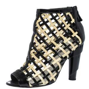 Chanel Black/White Woven Caged Open Toe Swirl Heel Booties Size 38.5