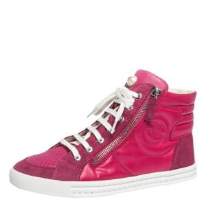 Chanel Pink Leather, Suede And Nylon CC Pearl Double Zipper High Top Sneakers Size 37