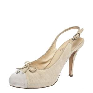 Chanel Beige Canvas CC Bow Cap Toe Slingback  Sandals Size 38