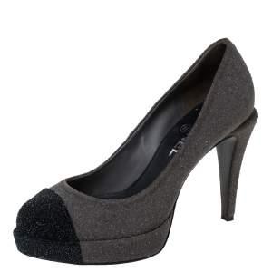 Chanel Grey/Black Glitter Suede CC Cap Toe Platform Pumps Size 37