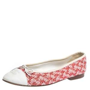 Chanel Red/White Sequin Tweed And Leather Cap Toe CC Bow Ballet Flats Size 38